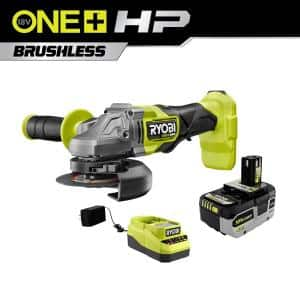 ONE+ HP 18-Volt Brushless Cordless 4-1/2 in. Angle Grinder Kit with (1) 4.0 Ah Battery and Charger