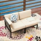 2-Piece Metal Outdoor Sectional Set with Beige Cushions