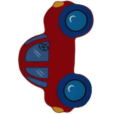 Fun Time Shape Red Car Multi Colored 3 ft. x 5 ft. Area Rug