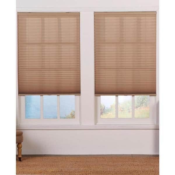 Perfect Lift Window Treatment Cut To Width Camel Cordless Light Filtering Pleated Shade 47 5 In W X 64 In L Qdcm474640 The Home Depot