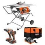 10 in. Pro Jobsite Table Saw with Stand and 18-Volt Cordless Drill/Driver and Impact Driver 2-Tool Combo Kit
