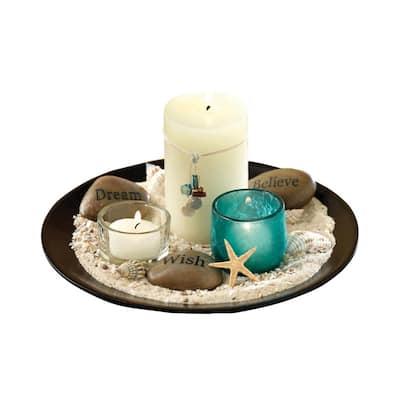 Estrella 5 in. x 9 in. Round Espresso Wood and Blue Artifact Glass Garden Candle Holder