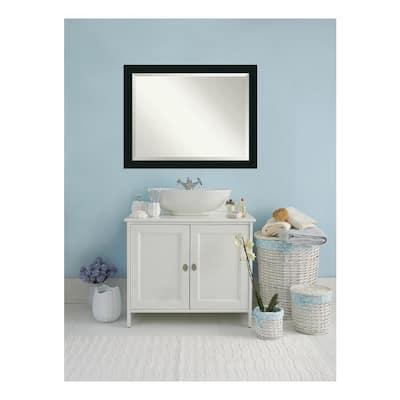 Corvino 45 in. W x 35 in. H Framed Rectangular Beveled Edge Bathroom Vanity Mirror in Satin Black