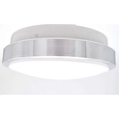 22 in. 1-Light Silver LED Acrylic Flush Mount