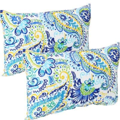 12 in. x 20 in. Outdoor Lumbar Throw Pillows in Aqua Paisley (Set of 2)