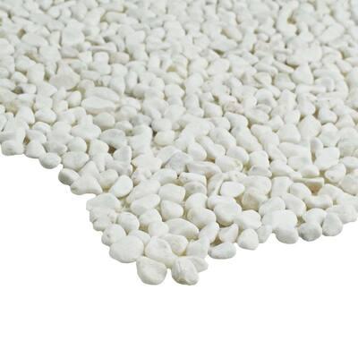 Pebblini Mini White 12 in. x 12 in. Pebble Stone Mosaic Tile (10.63 sq. ft. / Case)