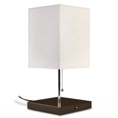 Omro 16.25 in. Brown and Beige Table Lamp with USB Charger