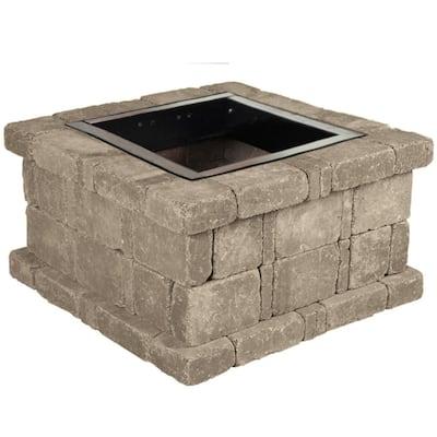 RumbleStone 38.5 in. x 21 in. Square Concrete Fire Pit Kit No. 3 in Greystone