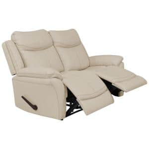 64.5 in. Off-White Almond Polyester 2-Seater Reclining Loveseat with Flared Arms