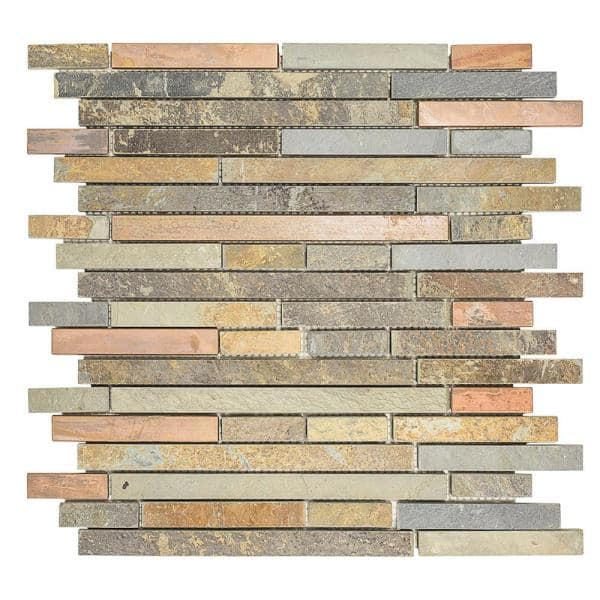 Jeffrey Court Satin Copper 11 5 In X 12 In X 8 Mm Interlocking Textured Copper Slate Mosaic Tile 99612 The Home Depot