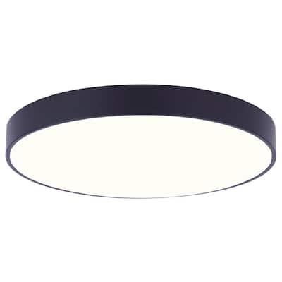 Low Profile Edgeless 5 in. Matte Black Integrated LED Flush Mount