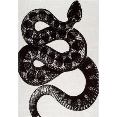 Thomas Paul Serpent Black and White 2 ft. x 3 ft. Indoor Area Rug