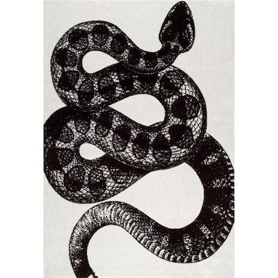 Thomas Paul Serpent Black & White 7 ft. x 9 ft. Area Rug