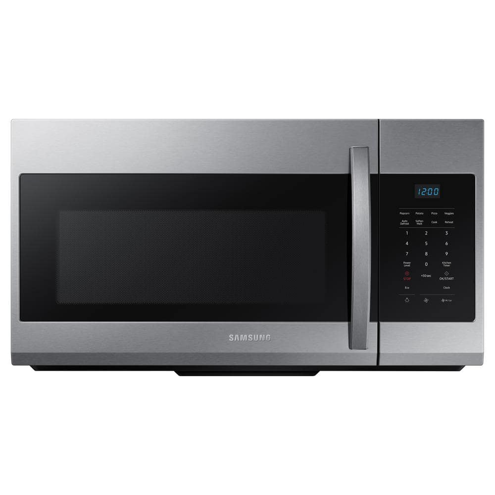 samsung 30 in w 1 7 cu ft over the range microwave in fingerprint resistant stainless steel me17r7021es the home depot