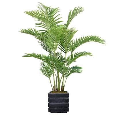 77 in. Real Touch Palm Tree in Fiberstone Planter