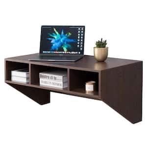 36 in. Rectangular Brown Floating Desk with Shelves