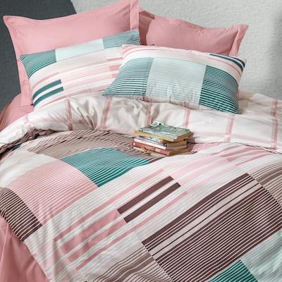 Mint Meets Pink Duvet Cover Set : Pink, Queen Size Duvet Cover, 1 Duvet Cover, 1 Fitted Sheet and 2 Pillowcases