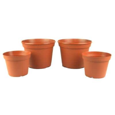 Ornament Collection 6 in. and 8 in. Terra Cotta Poly Planter Set