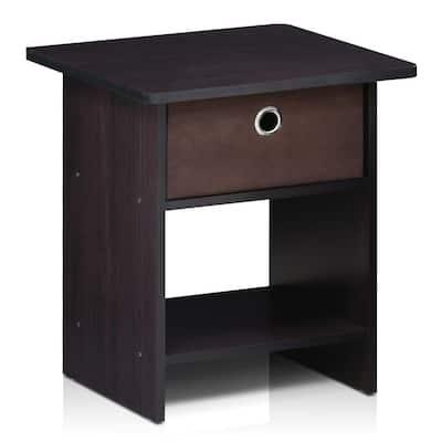 Home Living Bin Drawer Dark Walnut Nightstand
