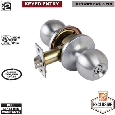Commercial 2-1/8 in. Grade 2 Satin Chrome Keyed Entry Door Knob