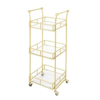 Collier 3-Tier Gold Bar Cart