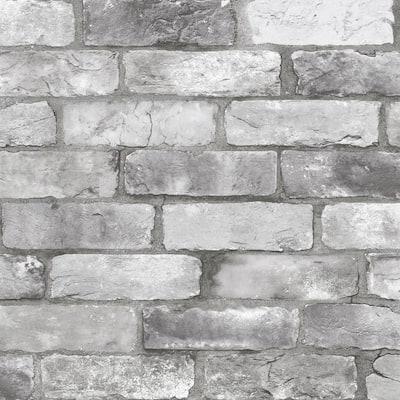 A Street Prints Rustin Grey Reclaimed Bricks Grey Wallpaper Sample 2922 25386sam The Home Depot
