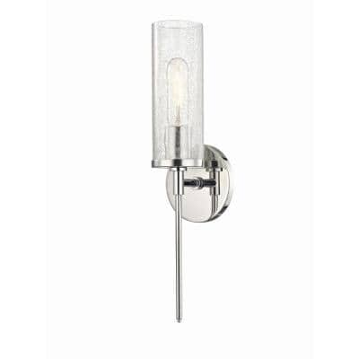 Olivia 1-Light Polished Nickel Wall Sconce with Clear Crackle Glass Shade