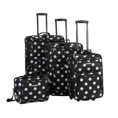 Beautiful Deluxe Expandable Luggage 4-Piece Softside Luggage Set, Blackdot