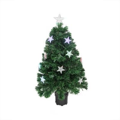 4 ft. Pre-Lit LED Color Changing Fiber Optic Artificial Christmas Tree with Stars