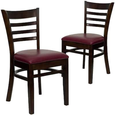 Burgundy Vinyl Seat/Walnut Wood Frame Restaurant Chairs (Set of 2)