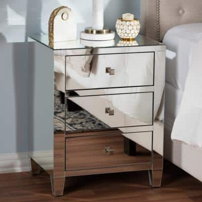Rosalind 3-Drawer Silver Metallic Nightstand