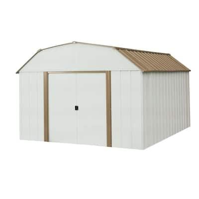 Dakota 10 ft. W x 14 ft. D 2-Tone Galvanized Steel Shed with Galvanized Steel Floor Frame Kit