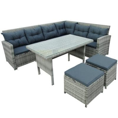 6-Piece Wicker Outdoor Dining Set with Gray Cushion