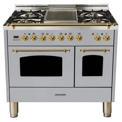 40 in. 4.0 cu. ft. Double Oven Dual Fuel Italian Range True Convection, 5 Burners, Griddle, Brass Trim/Stainless Steel
