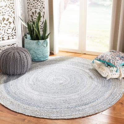 Braided Light Gray 6 ft. x 6 ft. Round Striped Solid Area Rug