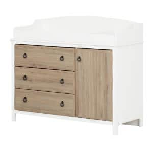 Cotton Candy Pure White and Rustic Oak Changing Table
