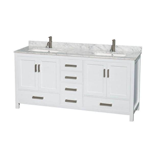 Wyndham Collection Sheffield 72 In Double Vanity In White With Marble Vanity Top In Carrara White Wcs141472dwhcmunsmxx The Home Depot