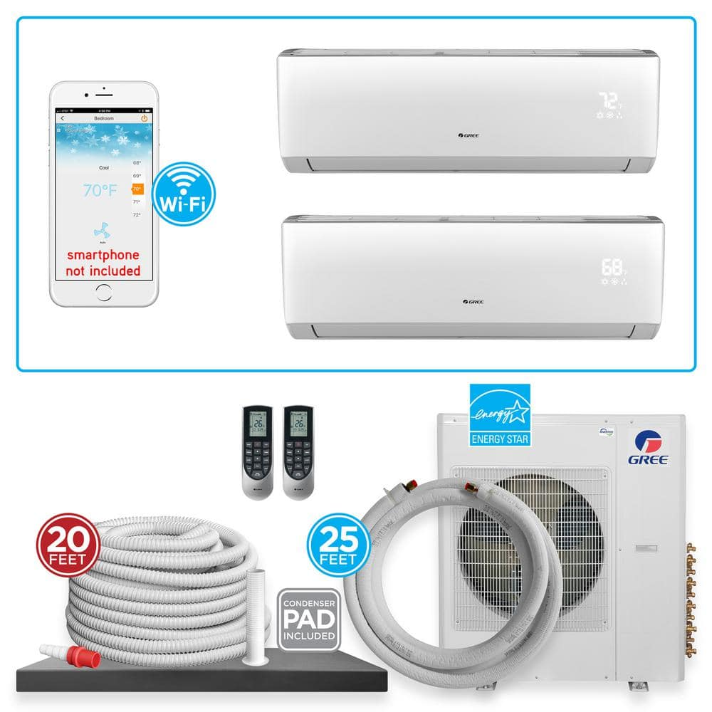 Gree Multi 21 Dual Zone 21 000 Btu Wi Fi Ductless Mini Split Air Conditioner Heat Pump With 25 Ft Install Kit 230v 60hz Multi18hp210 The Home Depot