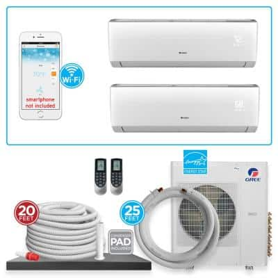 Multi-21 Dual Zone 31,000 BTU Wi-Fi Ductless Mini Split Air Conditioner & Heat Pump with 25 ft. Install Kit - 230V/60Hz
