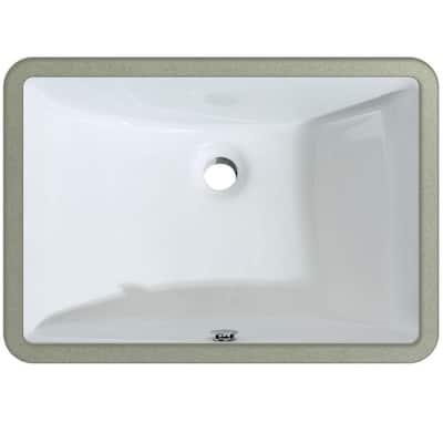 21 in. x 14-3/4 in. Rectangular Ceramic Undermount Bathroom Sink in White with Overflow