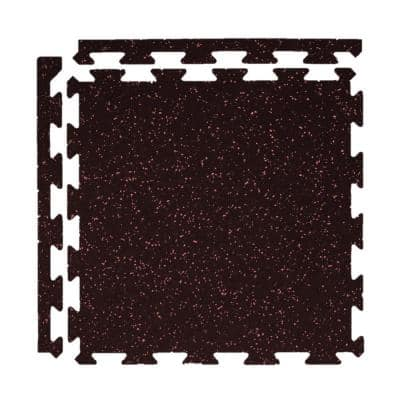 Eco-Lock Isometric Red 24 in. x 24 in. x 0.3 in. Rubber Gym/Weight Room Flooring Tiles (25.7 sq. ft.) (6-Pack)