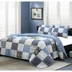 Stripe Plaid Tartan Boxers Briefs 3-Piece Navy Blue Black Square Patchwork Cotton King Quilt Bedding Set
