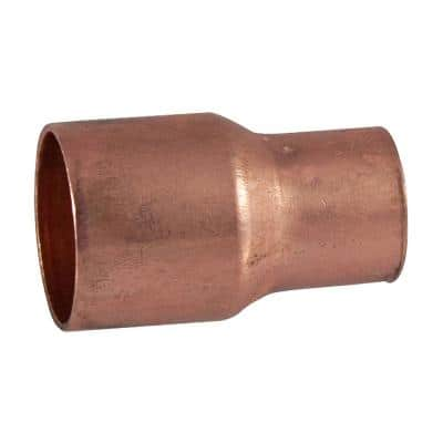 1/2 in. Copper Pressure Cup x Cup Reducing Coupling Fitting with Stop