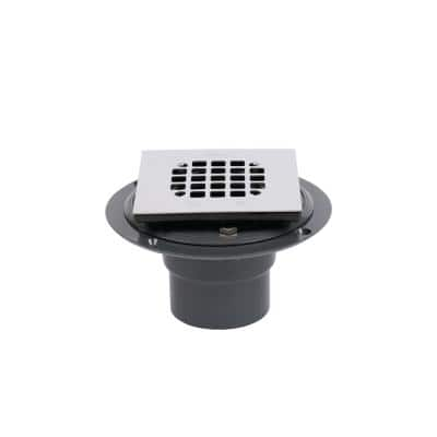 3 in. Round Black PVC Shower Drain with 4-3/16 in. Square Stainless Steel Drain Cover