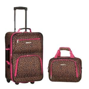 Rio Expandable 2-Piece Carry On Softside Luggage Set, Pinkleopard