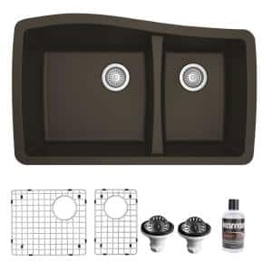Brown Quartz Composite 33 in. 60/40 Double Bowl Undermount Kitchen Sink with Bottom Grids and Strainers