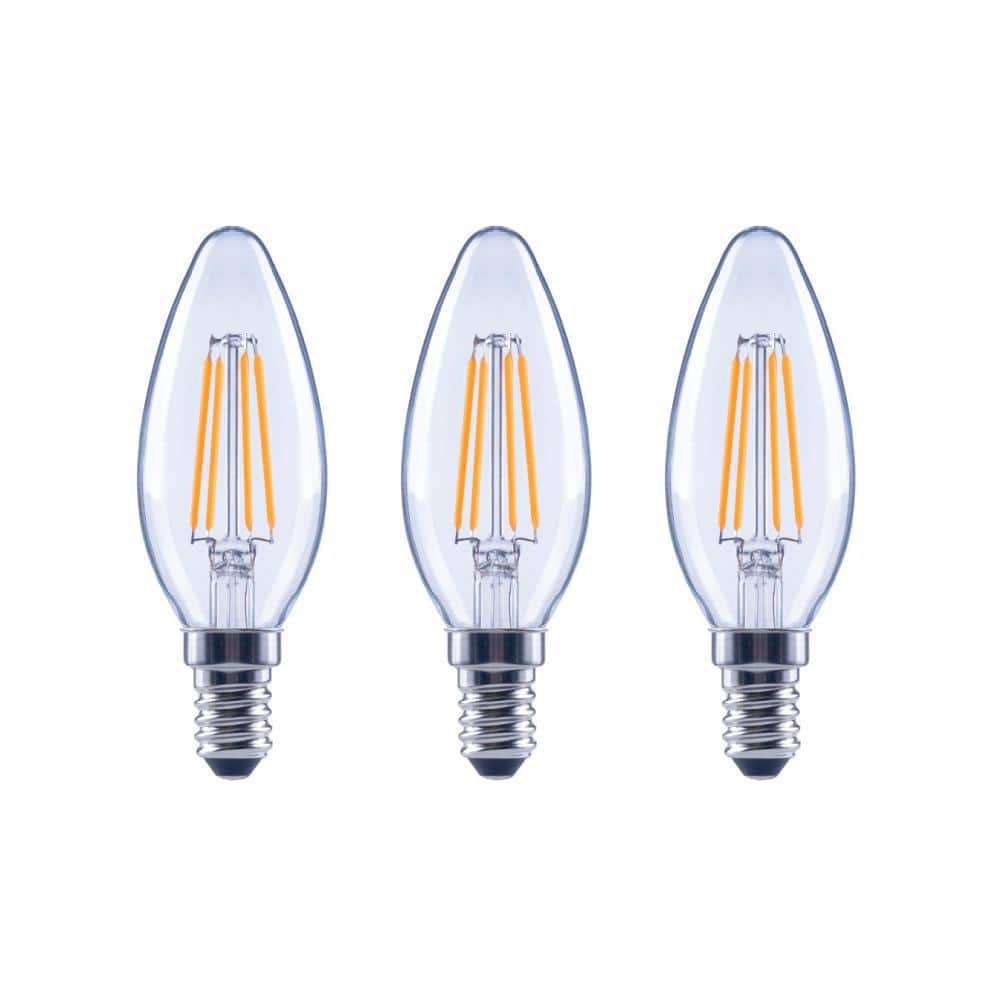 Ecosmart 60 Watt Equivalent B11 Dimmable Energy Star Clear Glass Filament Vintage Edison Led Light Bulb Daylight 3 Pack Fg 04077 The Home Depot
