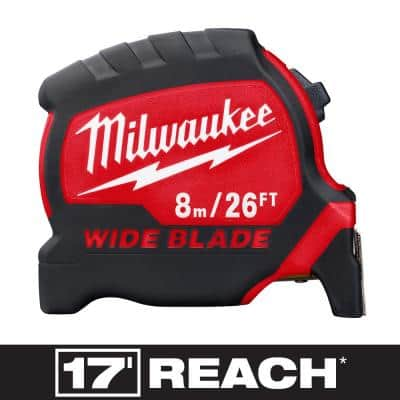 8 m/26 ft. x 1.3 in. Wide Blade Tape Measure with 17 ft. Reach