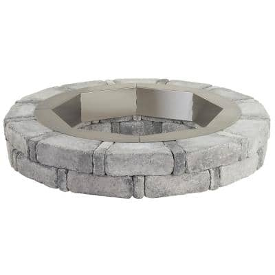 RumbleStone 46 in. x 7 in. Round Concrete Fire Pit Kit in Greystone with Round Steel Insert