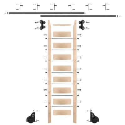 9 ft. Maple Library Ladder (10 ft. Reach) Black Rolling Ladder Kit with 12 ft. Rail and Vertical Brackets
